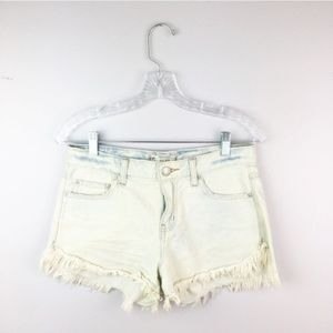 Free People stone wash frayed hem denim shorts